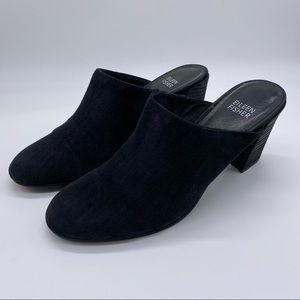 Eileen Fisher Black Suede High Heel Mules